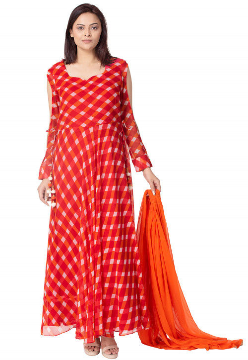 Check Printed Georgette Abaya Style Suit in Red