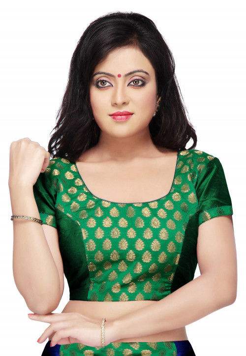 Color Blocked Chanderi Silk Jacquard Blouse in Green