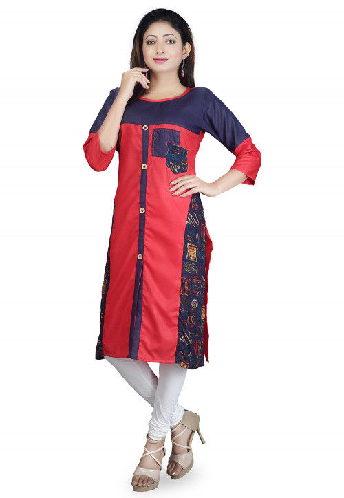Color Blocked Cotton Straight Kurta in Red and Navy Blue