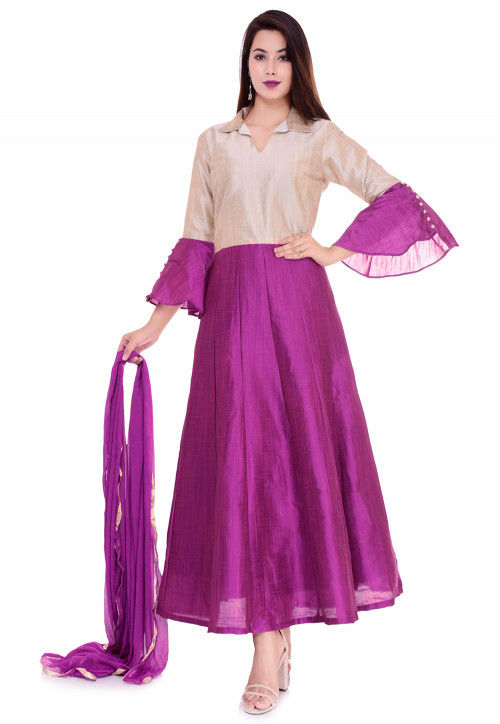 Color Blocked Dupion Silk Abaya Style Suit in Fuchsia and Light Fawn