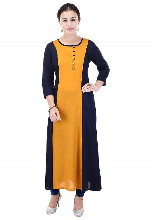 Color Blocked Rayon A Line Kurta in Mustard and Navy Blue