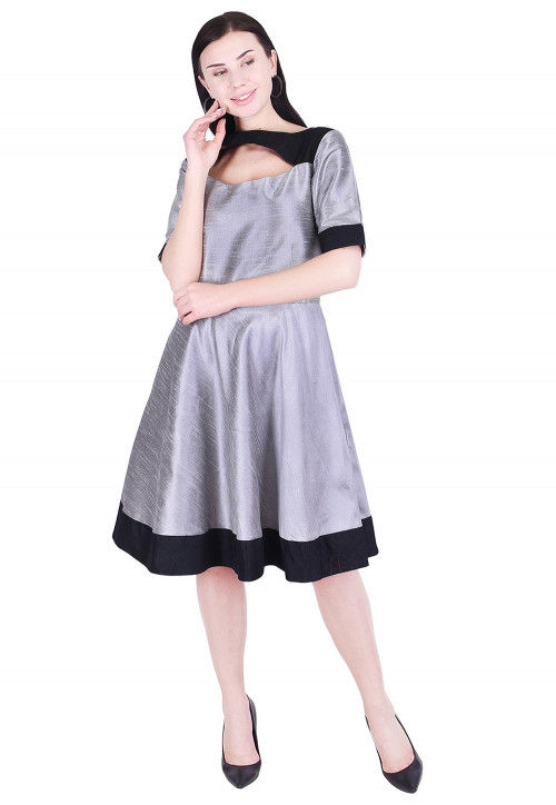 Color Blocked Dupion Silk A Line Dress in Grey and Black