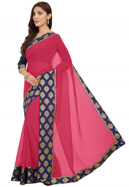 Contrast Border Chiffon Saree in Pink
