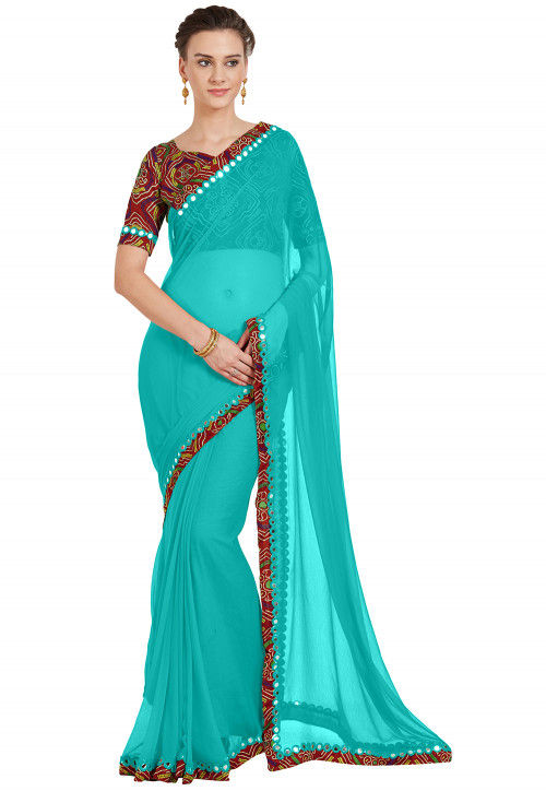 Contrast Border Chiffon Saree in Turquoise