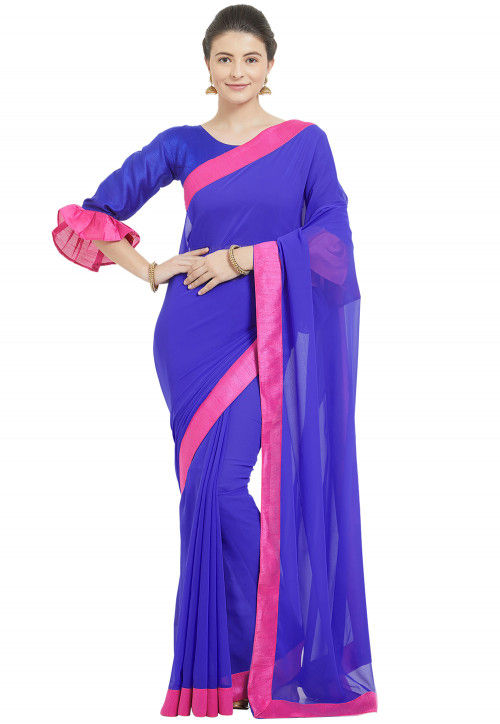 Contrast Border Georgette Saree in Royal Blue