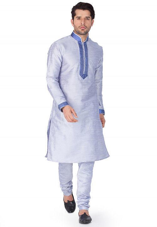 Contrast Trim Dupion Silk Kurta Set in Light Blue