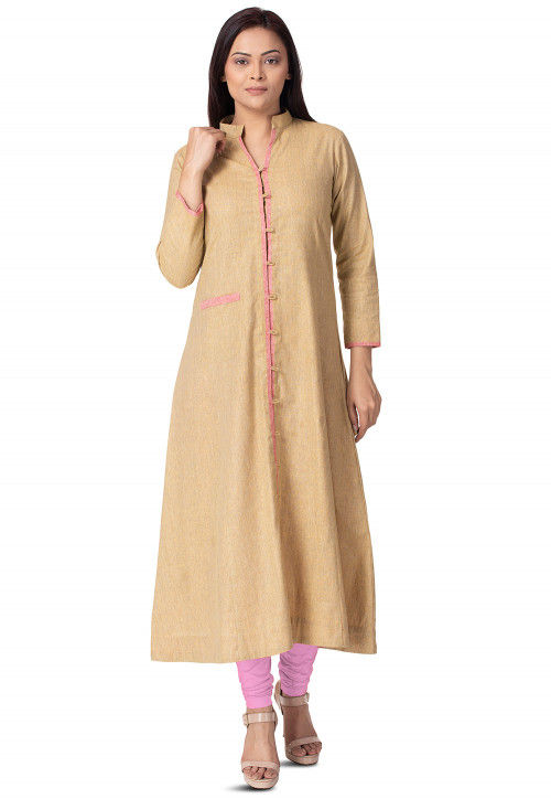 Contrast Trim Linen Cotton A Line Kurta in Beige