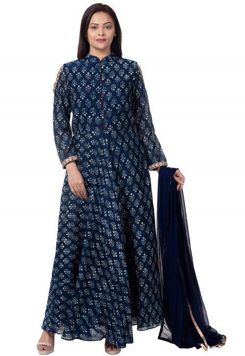 Dabu Printed Chanderi Cotton Abaya Style Suit in Navy Blue