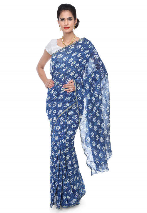 Dabu Printed Chanderi Cotton Saree in Indigo Blue