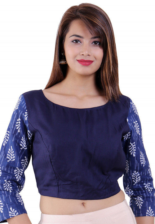 Dabu Printed Cotton and Rayon Padded Blouse in Dark Blue