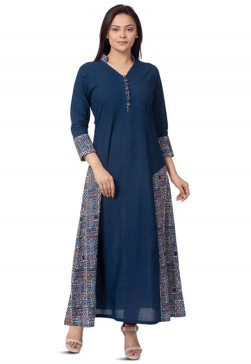 Dabu Printed Cotton Long Kurta in Navy Blue