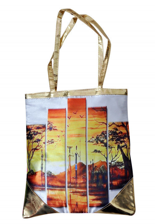 Digital Printed Art Silk Hand Bag in Multicolor