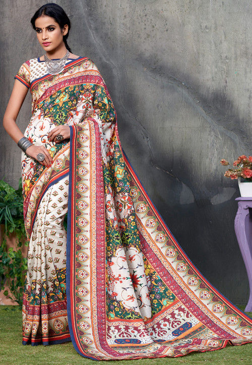 Digital Printed Art Silk Saree in Off White