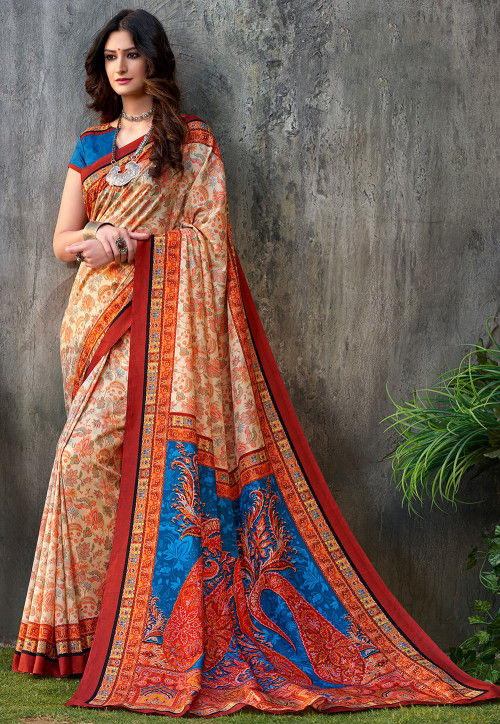 Digital Printed Art Silk Saree in Orange