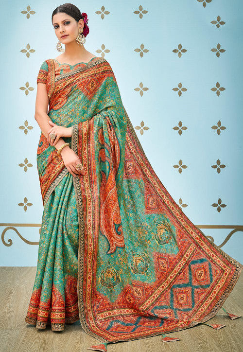 Digital Printed Art Silk Saree in Teal Green