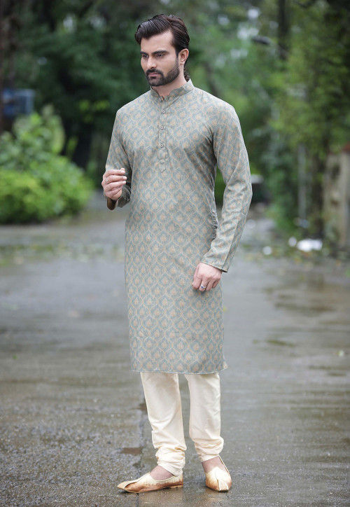 Digital Printed Cotton Kurta Set in Grey