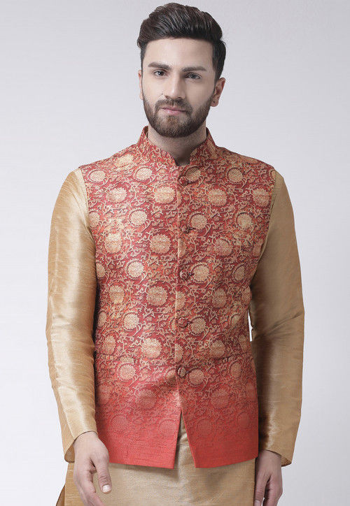 0d95d90dc49 Digital Printed Dupion Silk Nehru Jacket in Coral Red : MKQ336