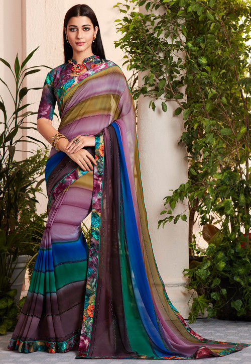 Digital Printed Georgette Saree in Multicolor