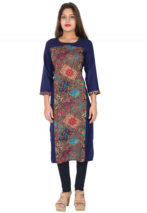 Digital Printed Rayon Straight Kurta in Blue and Multicolor