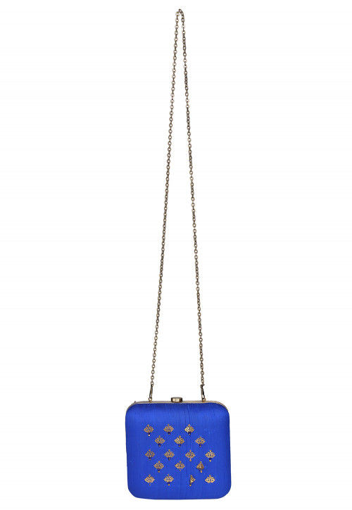 Embroidered Dupion Silk Clutch Bag in Royal Blue