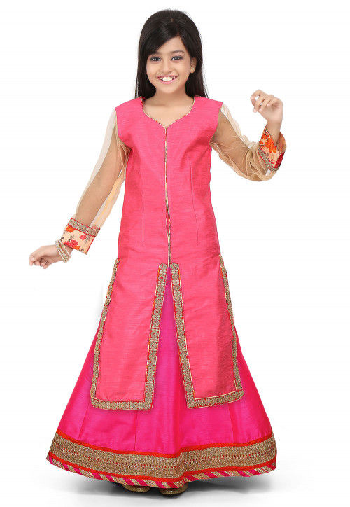Embellished Art Silk Lehenga in Pink