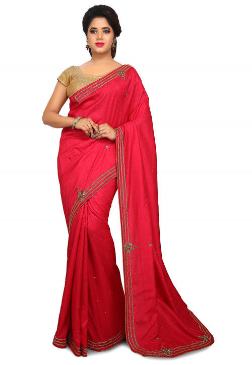 Embellished Art Silk Saree in Fuchsia