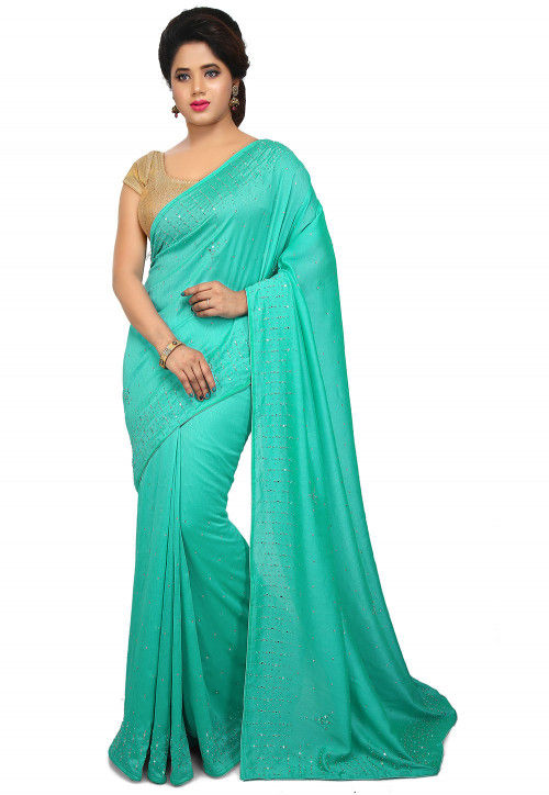Embellished Art Silk Saree in Turquoise