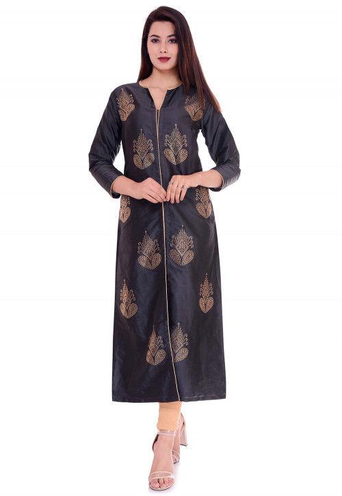 Embellished Art Silk Straight Kurta in Dark Grey