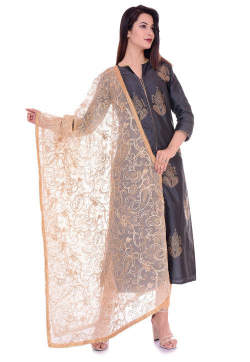 Embellished Art Silk Straight Suit in Dark Grey