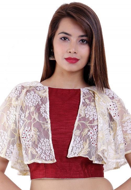 Embellished Bhagalpuri Silk Padded Blouse in Maroon and Off-White