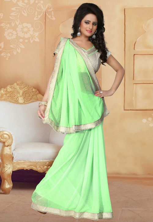 Embellished Georgette Saree in Light Green