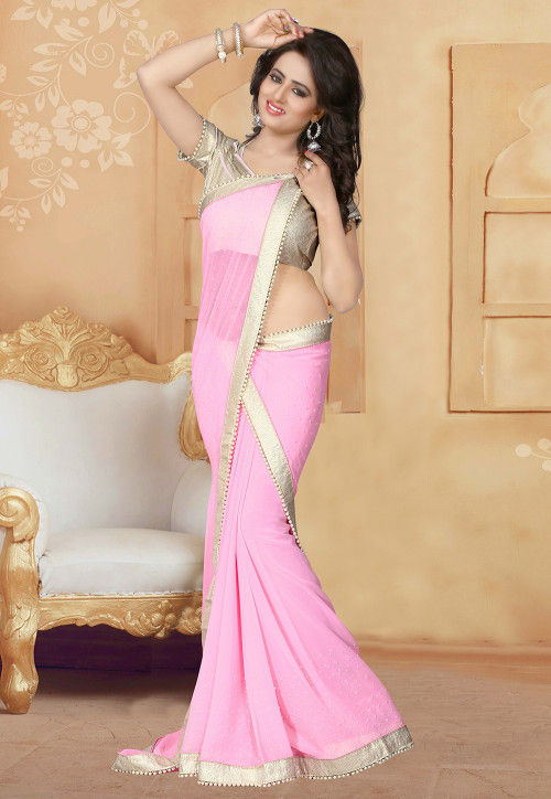 Embellished Georgette Saree in Light Pink