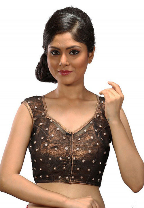 Embellished Net Blouse in Copper