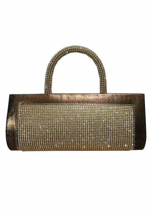 Embellished Rexin Clutch Bag in Antique