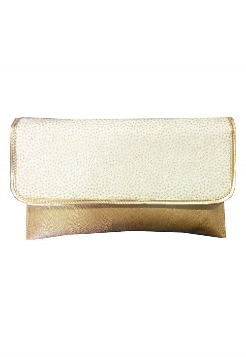 Embellished Rexin Clutch Bag in Golden and Off White