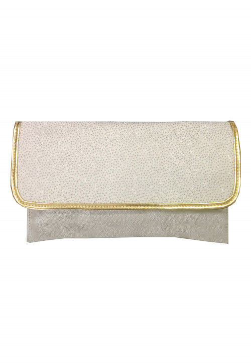 Embellished Rexin Clutch Bag in Off White