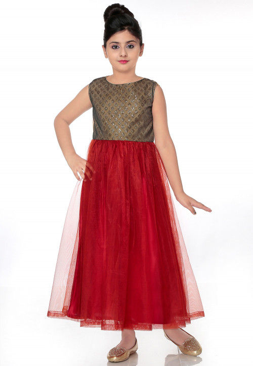 Embellished Shimmer Net Gown in Maroon and Black