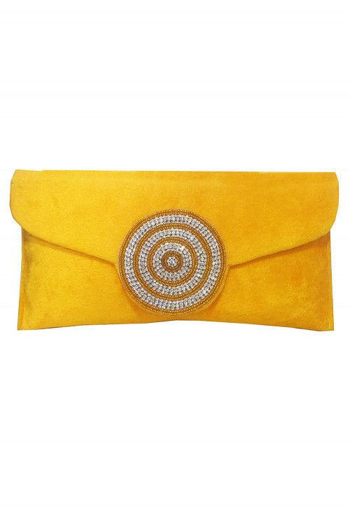 Embellished Velvet Clutch Bag in Yellow