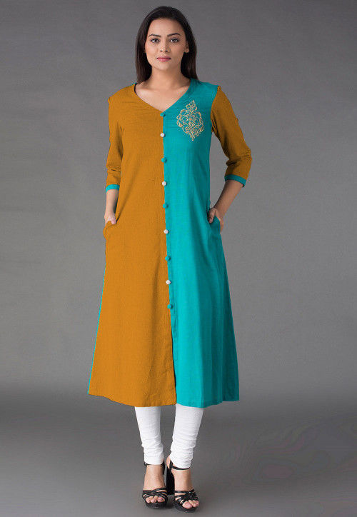 Embroide Cotton Straight Kurta in   Mustard and Blue