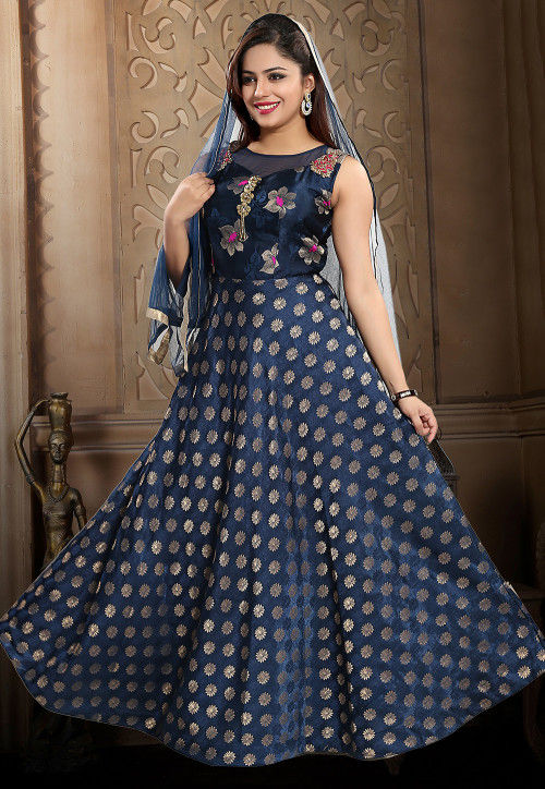 Embroidered and Brocade Abaya Style Suit in Navy Blue