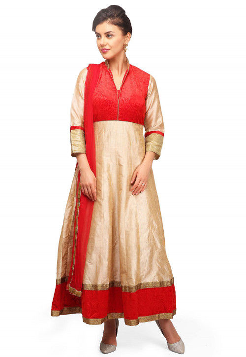 Embroidered Art Chanderi Silk Abaya Style Suit in Beige and Red