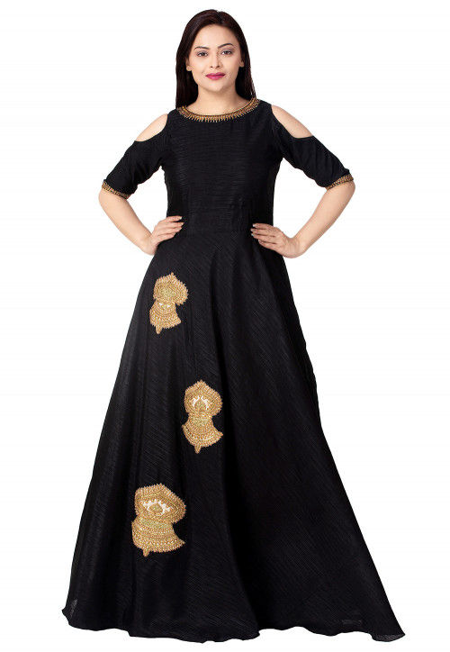 Embroidered Dupion Silk Flared Gown in Black
