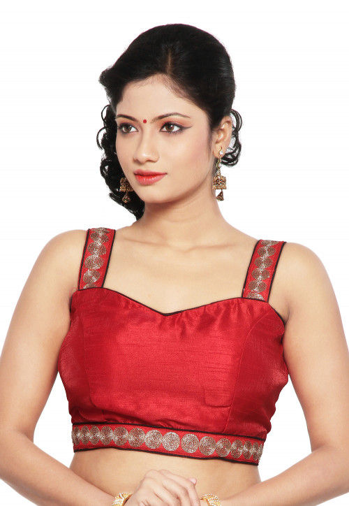 Embroidered Art Raw Silk Blouse in Red