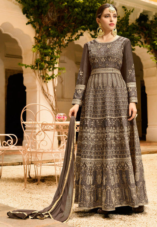 Embroidered Art Silk Abaya Style Suit in Dark Fawn