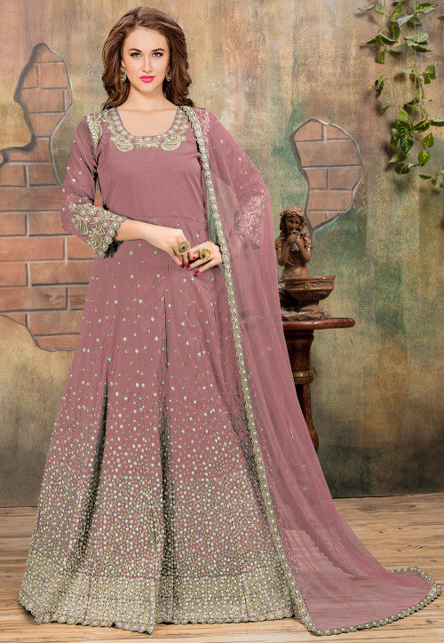 Embroidered Art Silk Abaya Style Suit in Dusty Old Rose