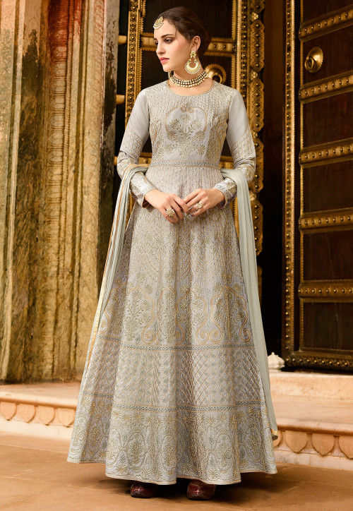 Embroidered Art Silk Abaya Style Suit in Light Grey