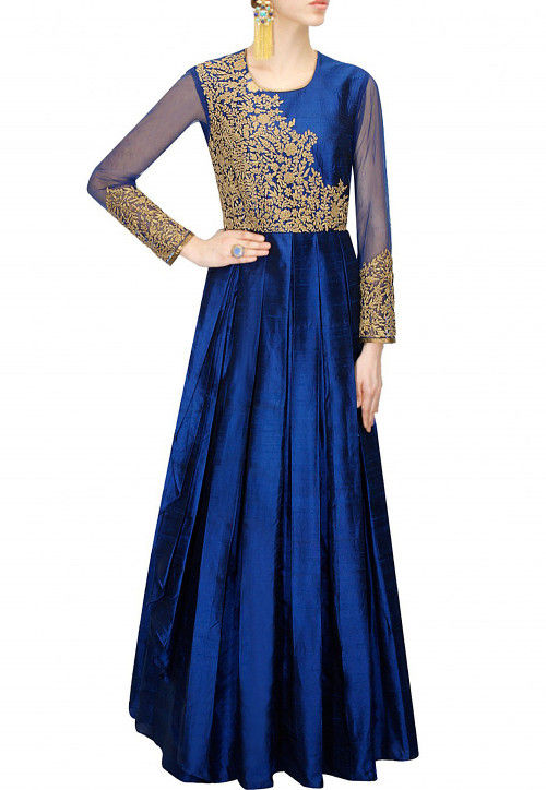 Embroidered Art Silk Abaya Style Suit in Royal Blue