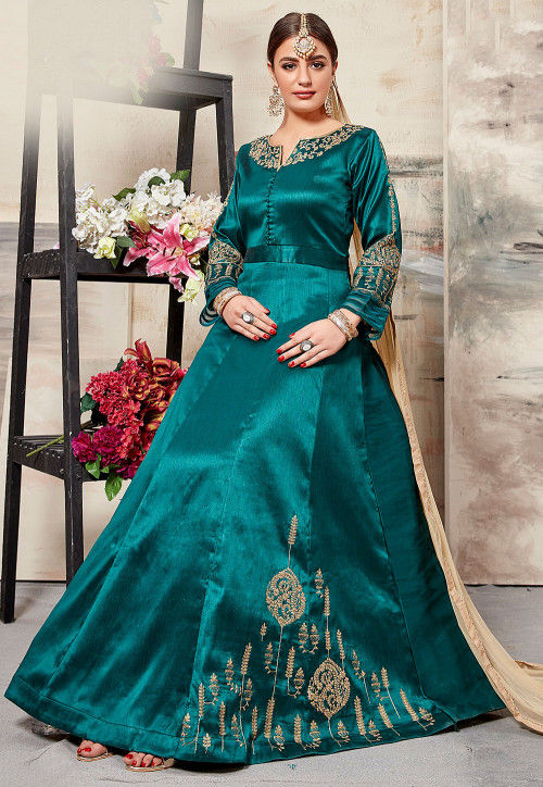 Embroidered Art Silk Abaya Style Suit in Teal Blue