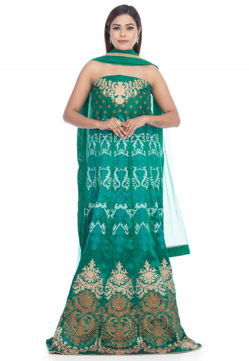 Embroidered Art Silk Abaya Style Suit in Teal Green