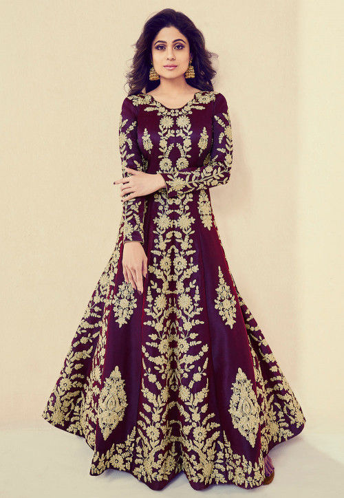 Embroidered Art Silk Abaya Style Suit in Wine